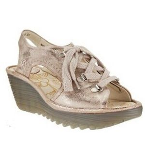 Fly London Ylfa Leather Wedge Sandals Size 10